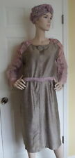 Vintage 30s 40s DECO Grey Shantung & Pink Lace Dress Jacket & Turban Hat VGC~XL