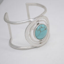 kenneth cole signed jewelry matte silver cuff bangle turquoise bracelet