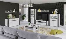 BRANDO LIVING DINING ROOM FURNITURE WHITE HIGH GLOSS WITH GREY COLOUR