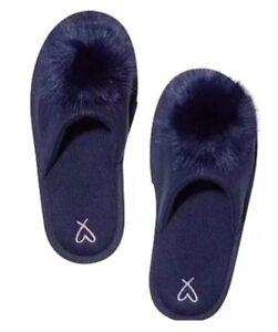 Victoria's Secret Fuzzy Pom Pom Slippers Navy Blue M(7-8)
