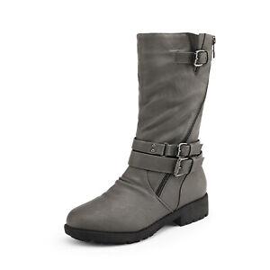 DREAM PAIRS Girls Kids Knee High Winter Boots Buckle Zipper Riding Boot Mid boot