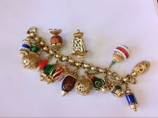 Decent Vtg Napier Chinese Lanterns GP + Art Glass Beads 15 Charm Bracelet.
