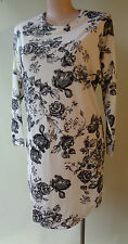 New Rosey Fashion black & white floral dress long sleeve print size 14 NWT