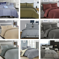 Luxury Woven 100% Cotton Soft Duvet Cover Pillowcases Bedding Bed Linen Set
