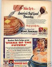 1950 PAPER AD Pancakes Aunt Jemimas Quaker Oats Mother's Buckwheat Flour Corn