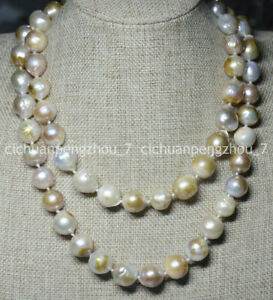NATURAL 12-14MM SOUTH SEA GENUINE COLOURFUL BAROQUE PEARL NECKLACE 16-36'' AAA
