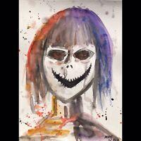 Matt Scalf Creepy Face ORIGINAL PAINTING Watercolor 9x12 Horror Haunted Scary