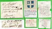 """Lettre 1785 marque postale: """"VANNES"""" réf.Lenain N°9 = indice 15: 160€ (Noblesse)"""