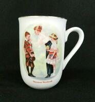 Vtg 1986 Coffee Cup Norman Rockwell Museum First Day of School White Gold Trim