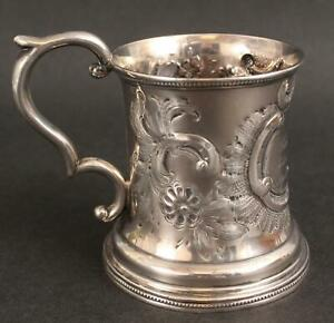 Antique 19thC Hallmarked T&W American Coin Silver Cup Mug , NR
