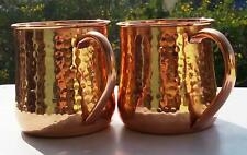 Pure Solid Copper Barrel Hammered Coffee Moscow Mule Mugs cup 18 oz 2 Pcs