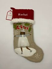Pottery Barn Kids Woodland Christmas Stocking Quilted Ice Skater Rachel