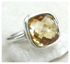 925 Sterling Silver FACETED CITRINE Semi Precious Gemstone RING SIZE O 1/2