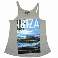 Womens Racer Back Top T Shirt Ladies Ibiza Vest Sizes 8-14 NEW