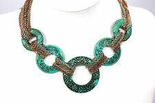 D19 Turquoise Green Art Deco Circle Engraved Necklace Set Light Boutique