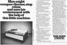 1972 Sony U-Matic Color Videocassette System 2 Page Print Ad