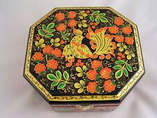 Wooden Storage Box Russian Khokhloma Hohloma Hand Painted Lacquered