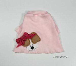 Pink Puppy With Bow Dog T-Shirt Clothes XXXS-Medium by Doogie Couture