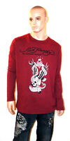 ED HARDY Christian Audigier LONG SLEEVE SHIRT New York City Rhinestone Bling 2XL