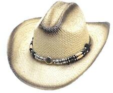 Straw Western Cowboy Hat Unisex Complete with Concho Hatband Style Nevada