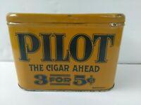RARE ANTIQUE VINTAGE PILOT CIGAR HUMIDOR TOBACCO TIN 3 FOR 5¢ SMOKING CIGARETTE