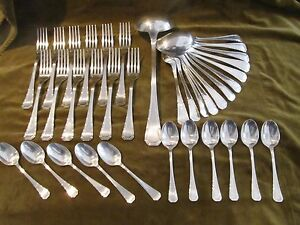 1925 french silverplate Christofle Alfenide 36p cutlery set art deco st