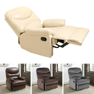 Velvet Bonged Leather Recliner Armchair Padded Sofa Home Lounge Reclining Chair