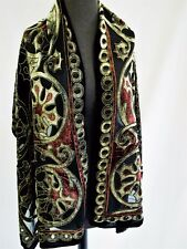 "Black Gray Burnout Silk Scarf 66"" by 21""  New handmade soft"
