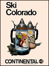 Ski Colorado Continental Airlines United States Travel Advertisement Poster
