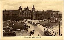 Amsterdam Holland alte Ansichtskarte ~1925 Centraalstation Bahnhof Straßenbahnen