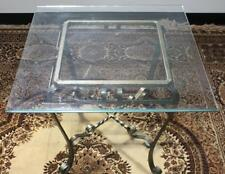 ​Vintage Copper Wrought Iron Glass Top Coffee Occasional Table -PL-4441