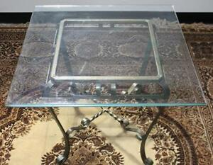 Vintage Copper Wrought Iron Glass Top Coffee Occasional Table -PL-444 R