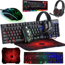 4in1 PC Gaming Set LED Keyboard Mouse Headset & Mouse Pad Gamer Bundle UK