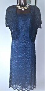 Phase Eight Deep blue beaded lace dress & bolero jacket suit ( 2 piece ) size 18