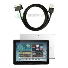 USB Charger Cable+Screen Protector for Samsung Galaxy Tab 2 P5100 P5110 10.1""