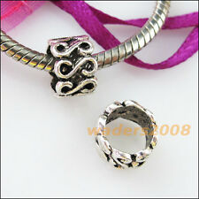 "12 New Charm ""S"" Tube Spacer Beads Charms Bail Fit Bracelets 10mm Tibetan Silver"