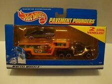 Hot Wheels Pavement Pounder Truck,Accel Trailer & Black '55 Chevy Diecast 39-200