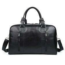 Black Mens Large Soft Nappa Leather Duffle Gym Shoulder Travel Bags Shoulder Bag