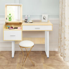 Vanity Table & Flip Top Square Mirror Makeup Dressing Writing Table Home Study