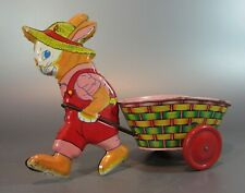 Vintage 1940's-50's J. CHEIN & co ALL TIN Litho Rabbit Pulling EASTER Basket