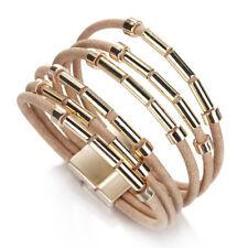 Trendy Women Tube Multi-layer Genuine Leather Bangle Charm Wrap Bracelet Jewelry