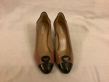 Emporio Armani Ladies High Heel Patent  Shoes Black/Brownish Pink Size 35.5