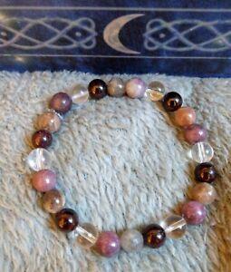 Menopause crystal healing 8mm bead bracelet lepidolite moonstone garnet