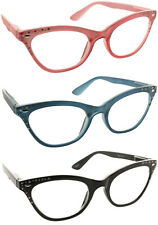 Reading Glasses Clear Lens Cateye Rhinestone Fashion Readers for Women