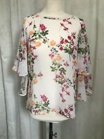 Laura Ashley Bell Sleeve Sheer White Floral Print Top U.K. Size 10 Spring Summer