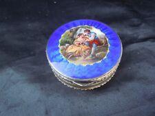 Boite vermeil argent guilloché emaille bleu decor peint miniature made austria