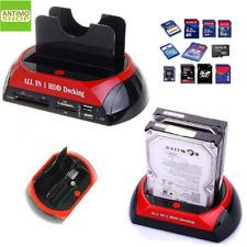DOCK DOCKING STATION HARD DISK 3,5 2,5 SATA IDE 2 HD HDD BOX CASE USB SD TF MS