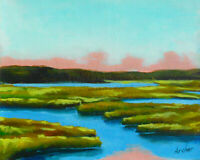 Provincetown Marsh Cape Cod Original Oil Painting Plein Air Signed Archer