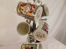 DUNOON STONEWARE CHRISTMAS 6 MUGS MADE IN SCOTLAND MUG SANTA TREE