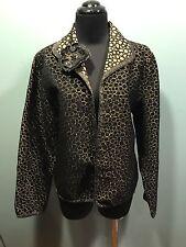 Yak Magik NWOT Black Gold Circle Sequin Beaded Rayon Blend Open Front Jacket M